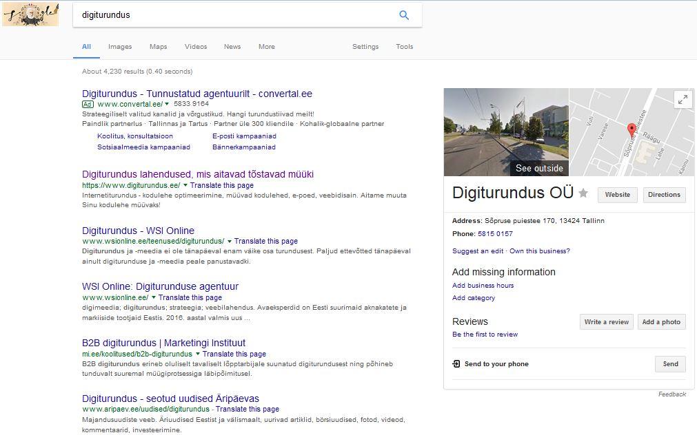 Digiturundus, Google'i otsingu kuvatõmmis
